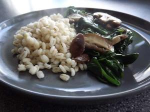 Gort met spinazie en shiitake
