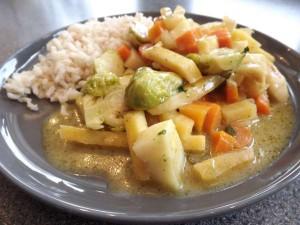 Gele curry met veel groenten