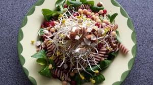 Pastasalade met veldsla, kikkererwten en granaatappelpitjes