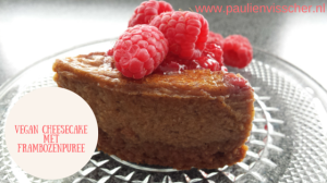 Vegan cheesecake met frambozenpuree