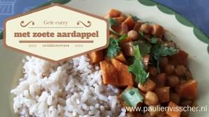 Gele curry met zoete aardappel en kikkererwten
